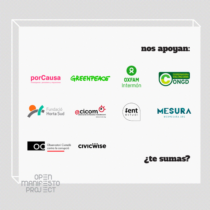 Open Manifesto Project apoyos Greenpeace Intermon Oxfam